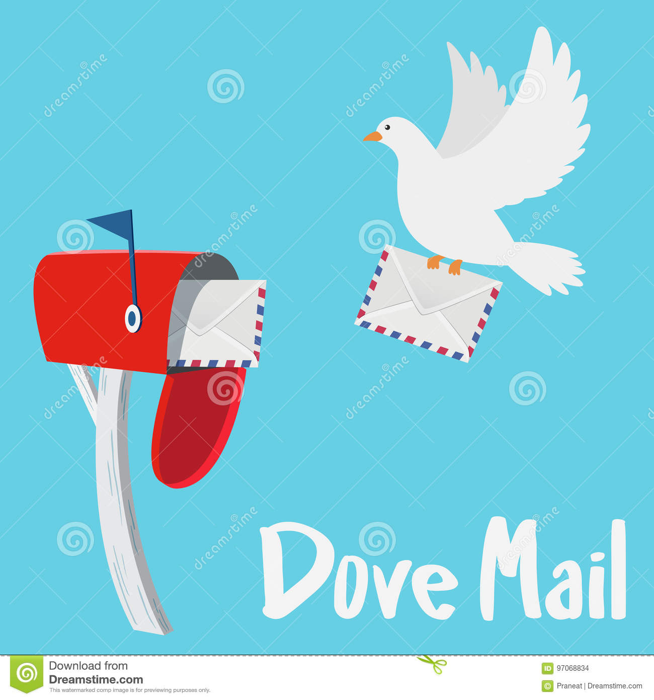 Dove Sending A Letter To A Red Mail Box Stock Vector  Illustration