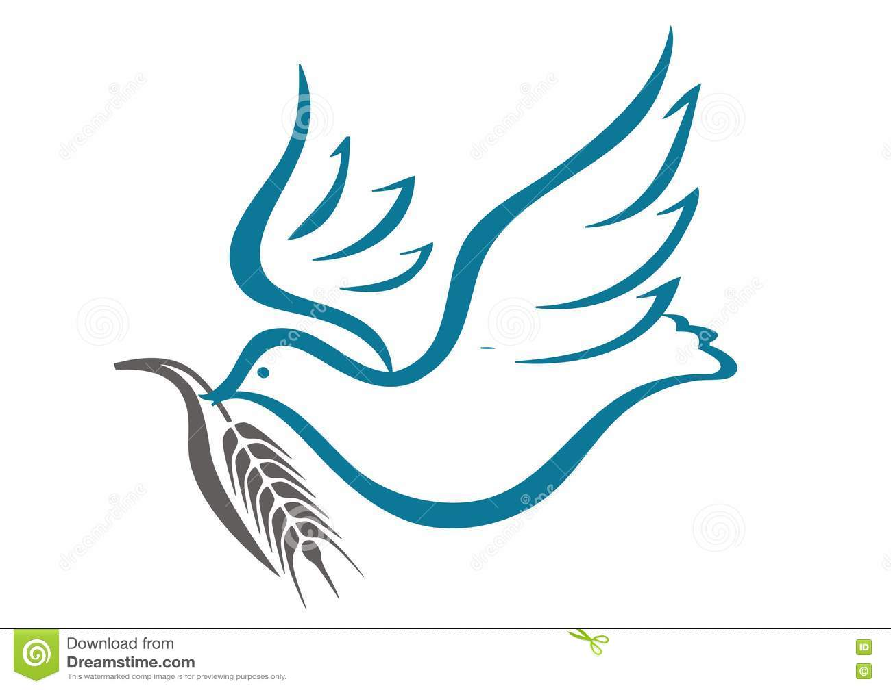 Dove And A Sprig Of Wheat Stock Vector. Image Of Dove