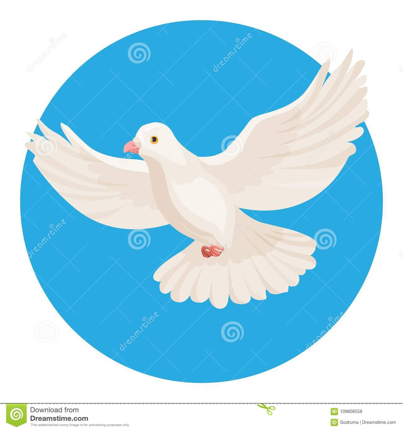 Dove Of White Color Symbol Of Peace Isolated In Circle Stock Vector