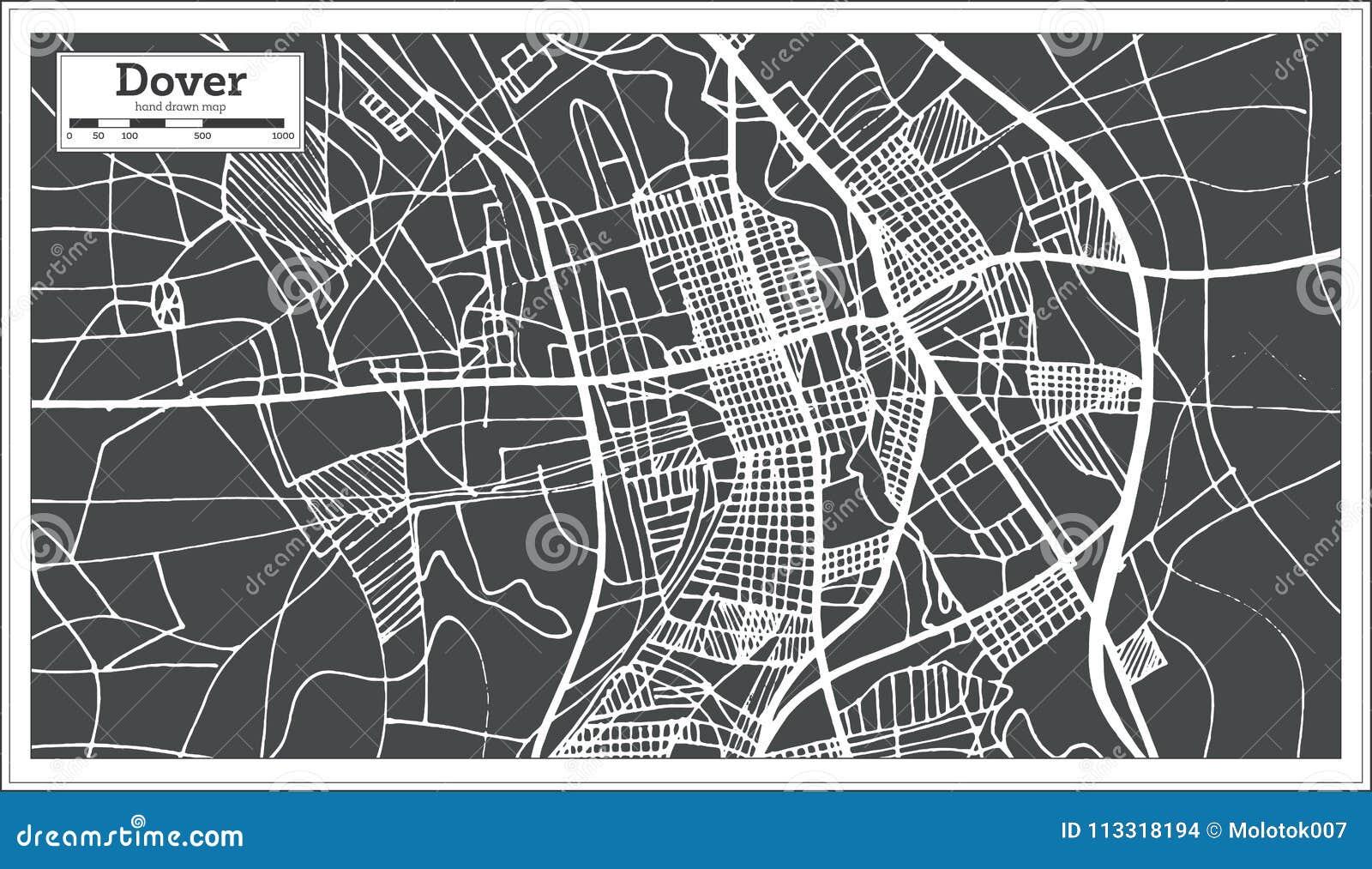 Dover De Zip Code Map.Dover Delaware Usa City Map In Retro Style Outline Map Stock