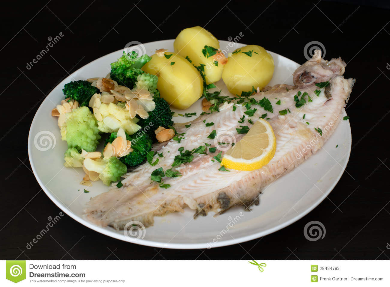 Dover Sole Fish Dinner Stock Image Image Of Dark