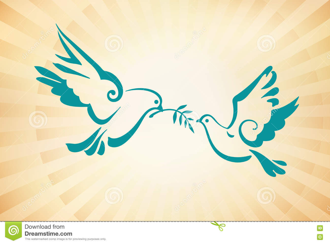 Doves On The Background Of Sunlight Peace Dove With Olive Branc