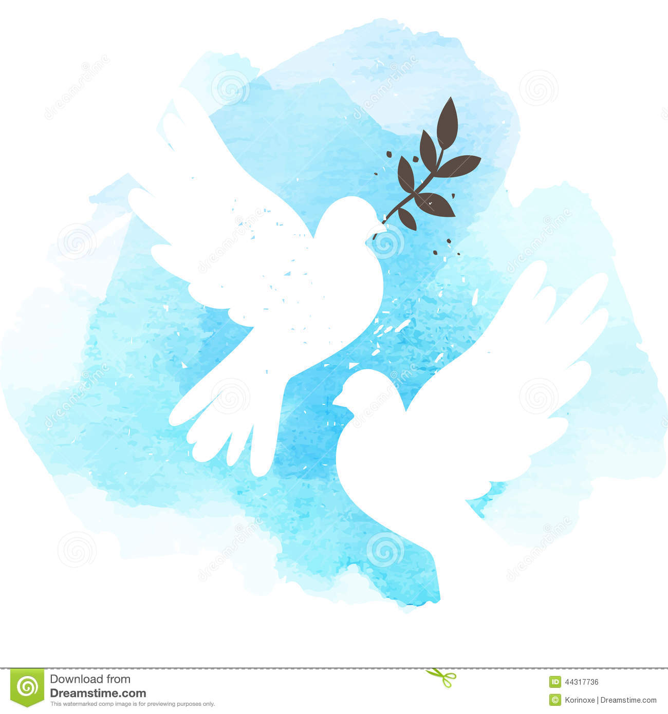 Doves On Blue Background Stock Vector Image 44317736