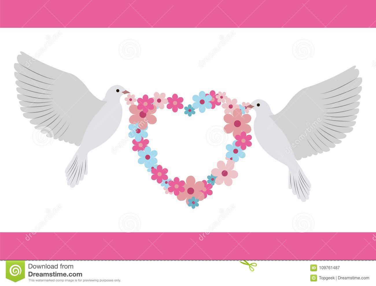 Doves Carrying Wreath Flowers Vector Illustration Stock Vector