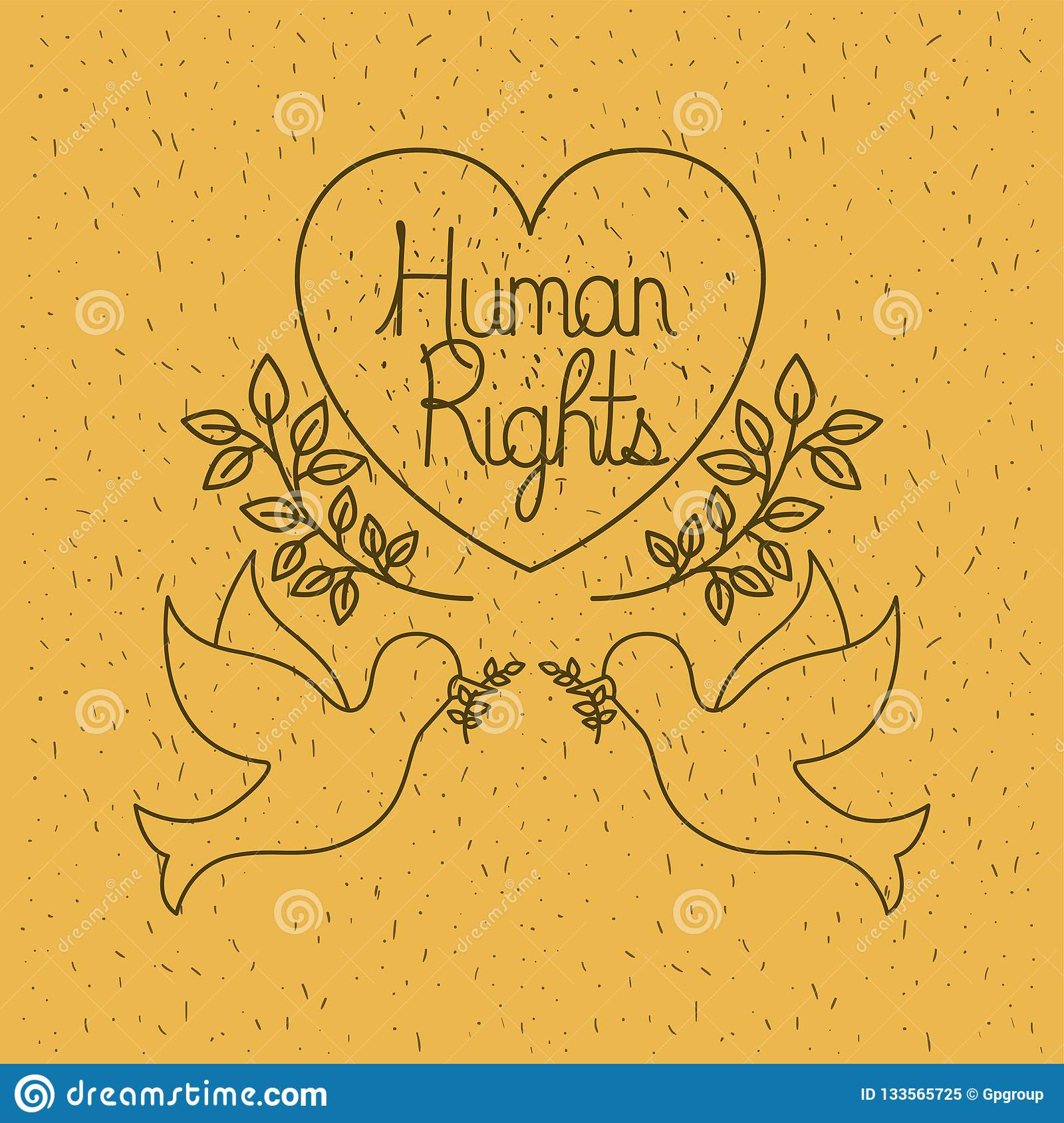 Doves Flying With Heart Human Rights Drawns Stock Vector