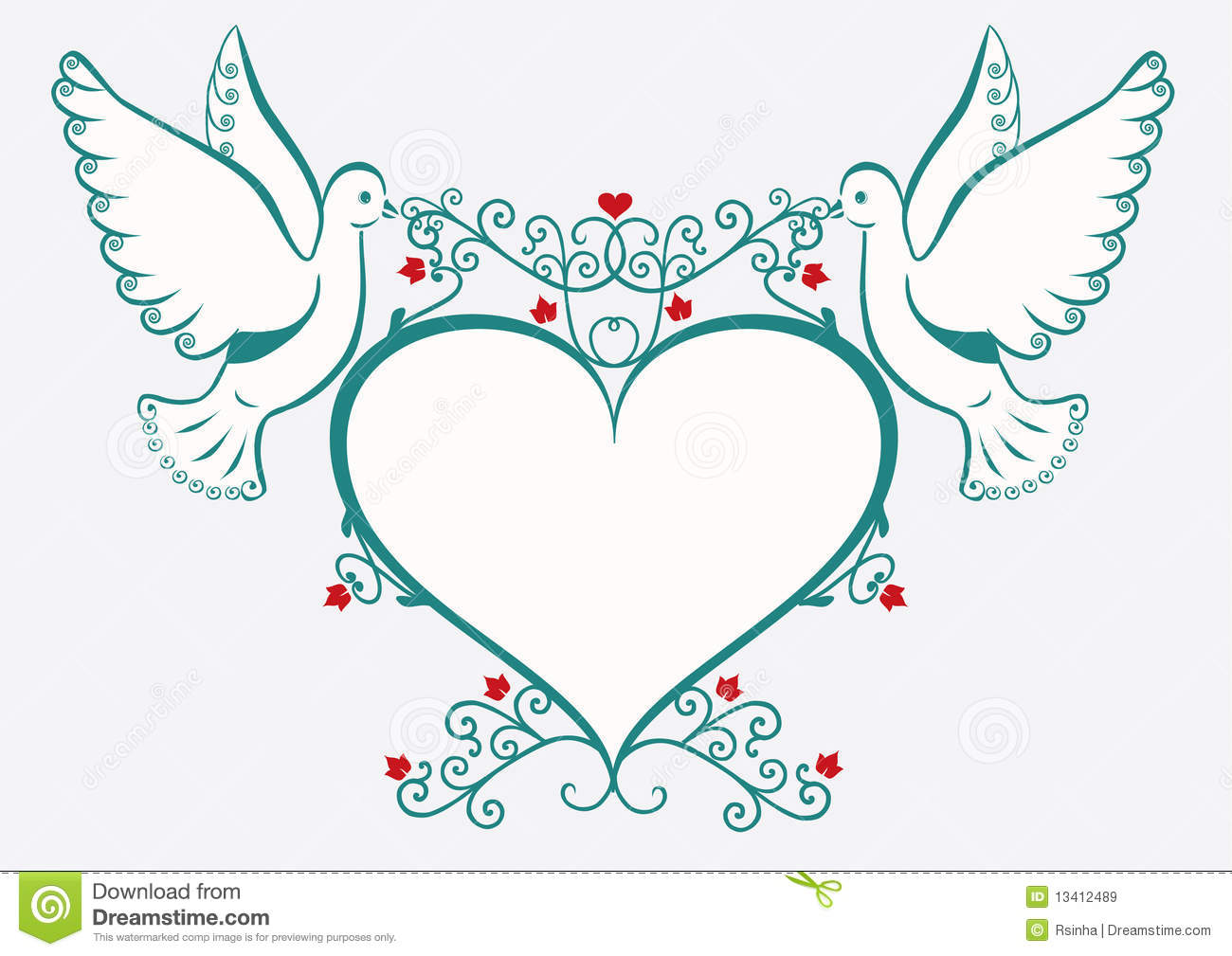 Doves with heart frame royalty free stock images image 13412489