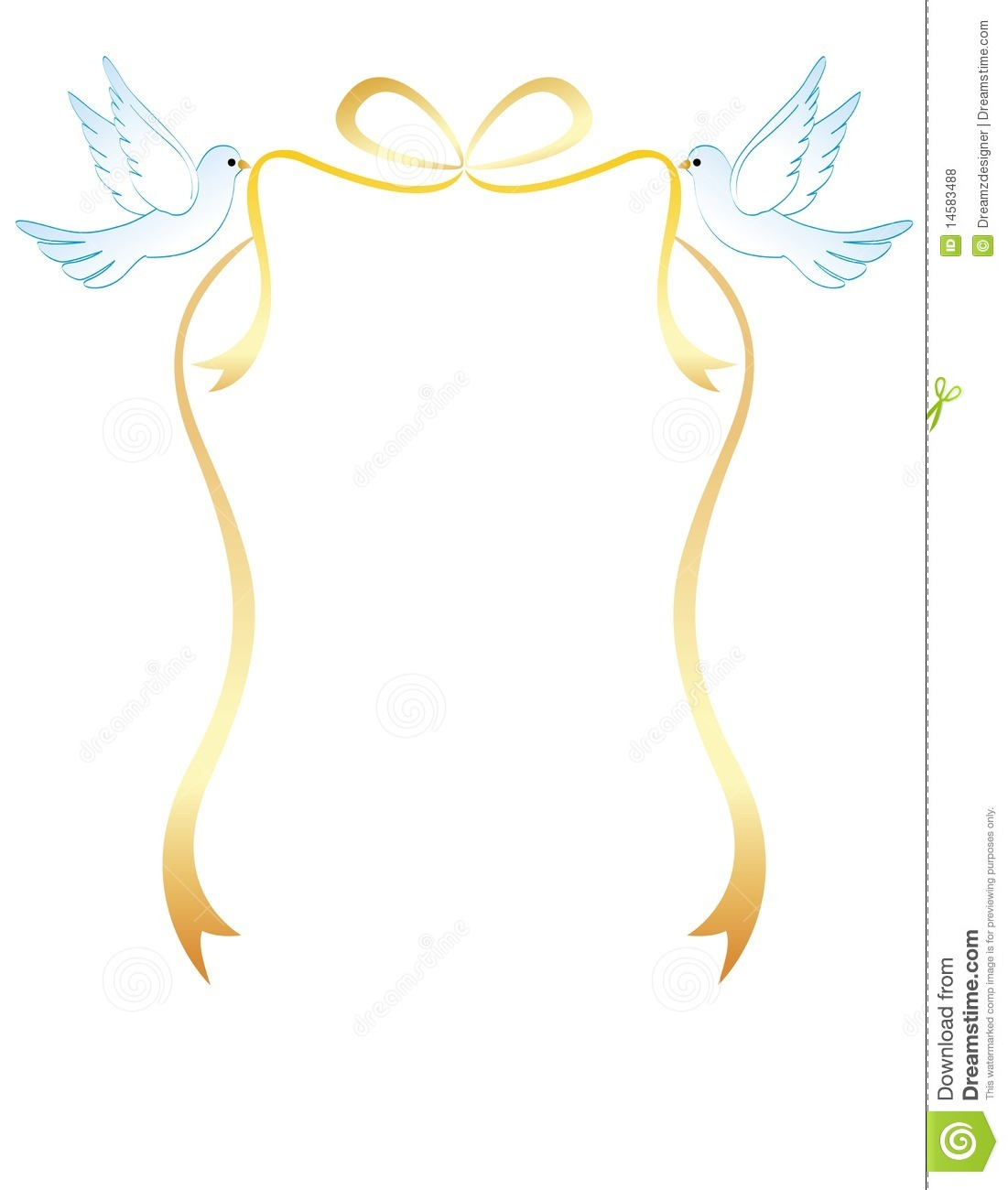 Carrying a golden ribbon bow beautiful dove clipart for wedding