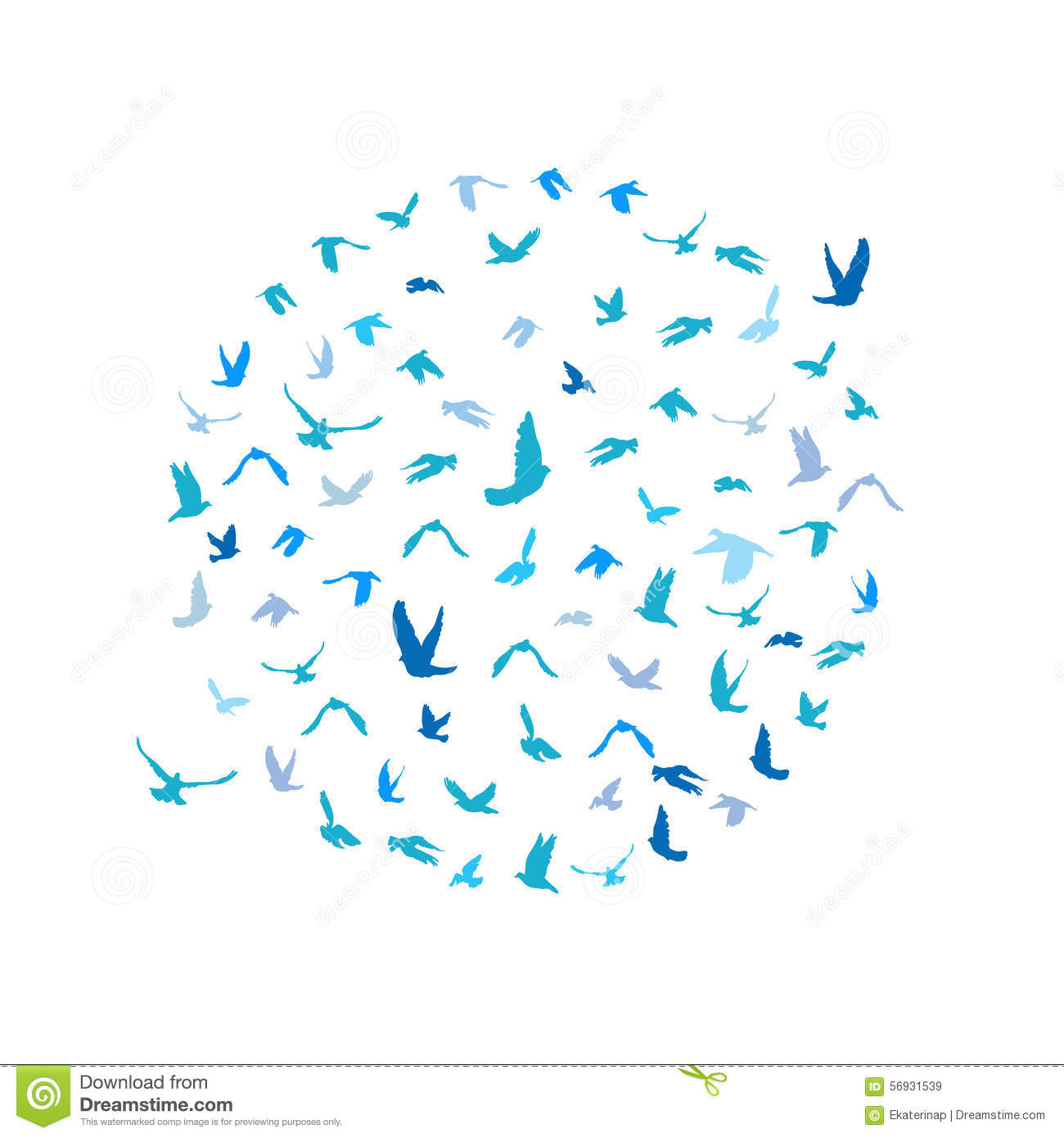 Set of sketches of flying swallows stock vector illustration -  Birds Hand Drawing Vector I Doves And Pigeons Set In A Circle For Peace Concept And Wedding Design Flying Blue