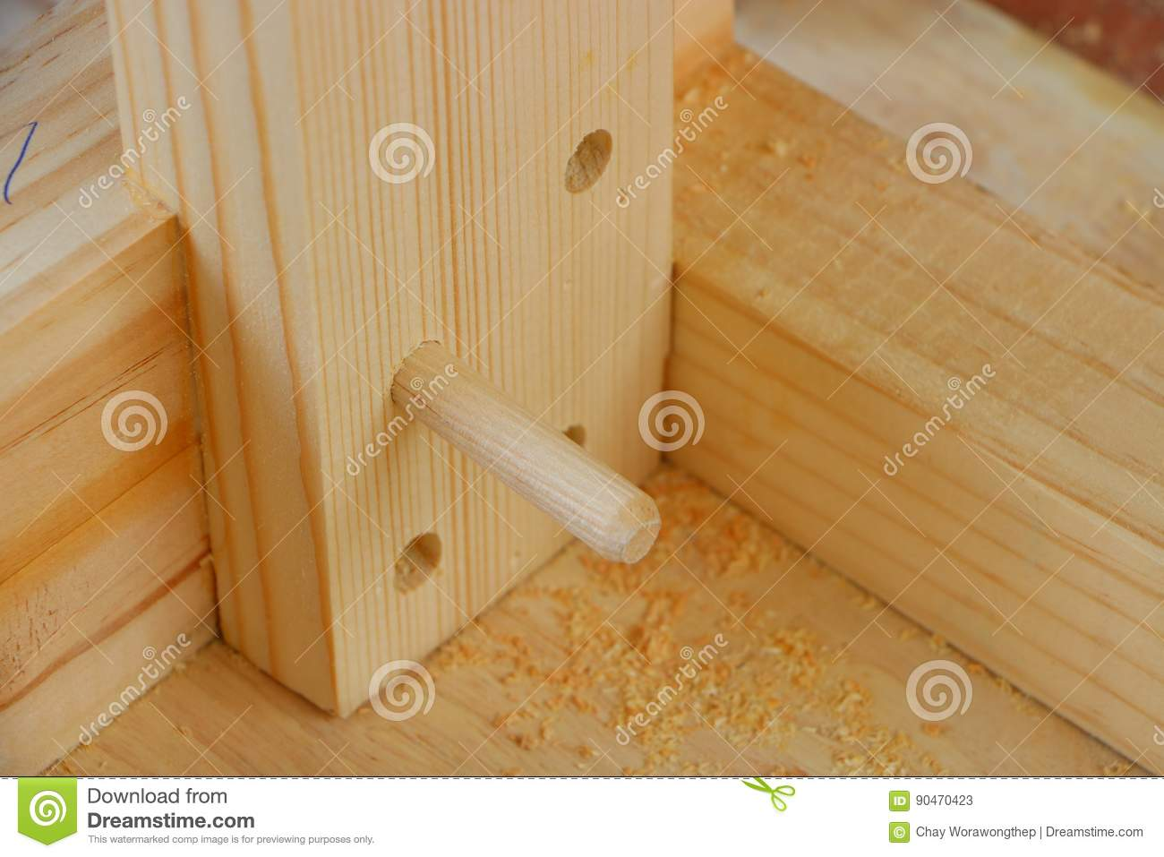 Dowel Joint And Hole Stock Image Image Of Craft Craftsman 90470423