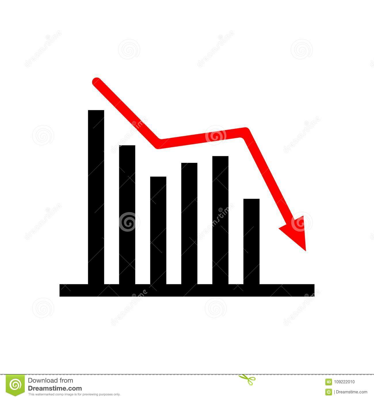 Down trending business graph. Black and red