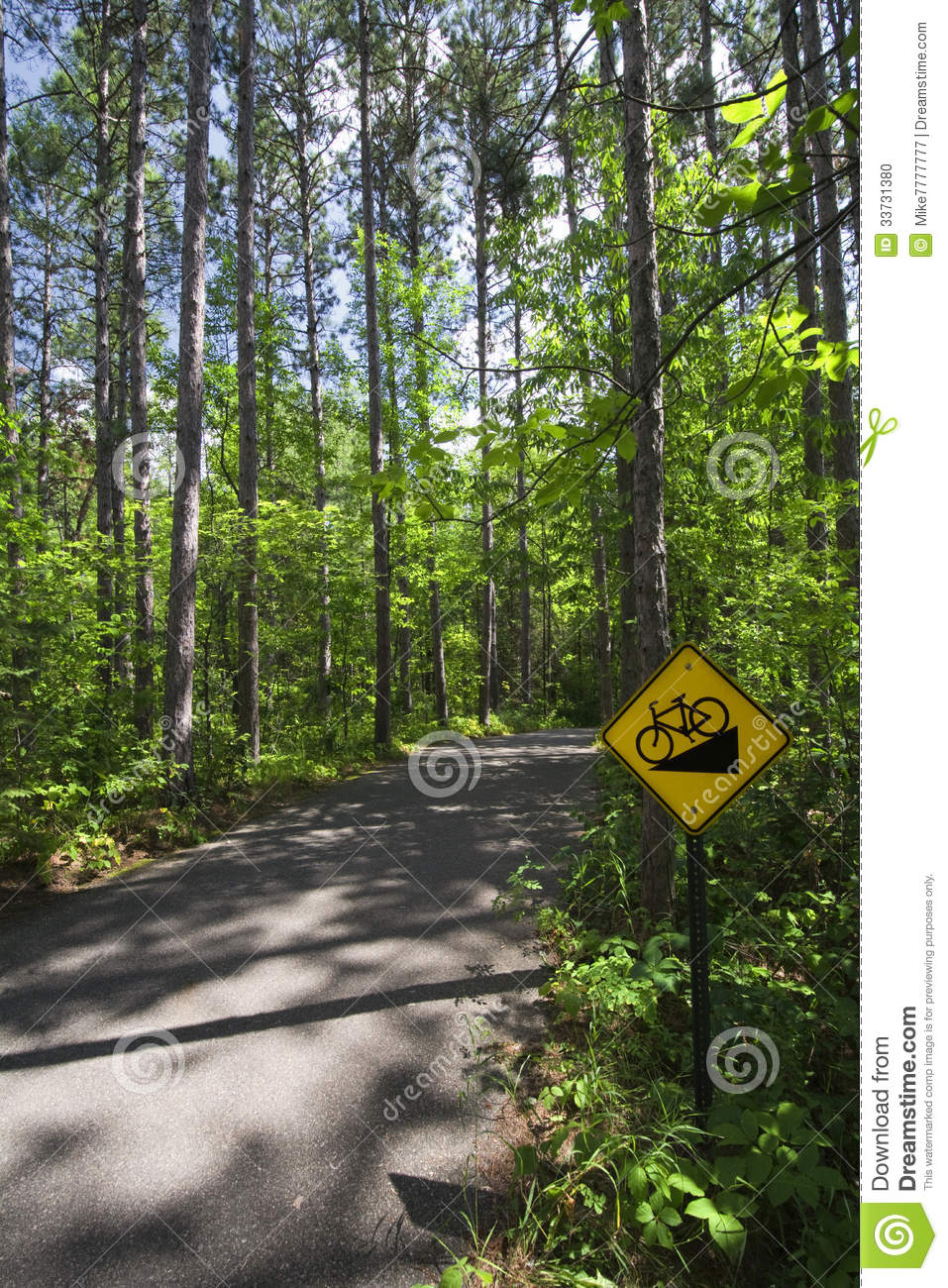 Downhill bike sign in Itasca State Park, Northern Minnesota, USA