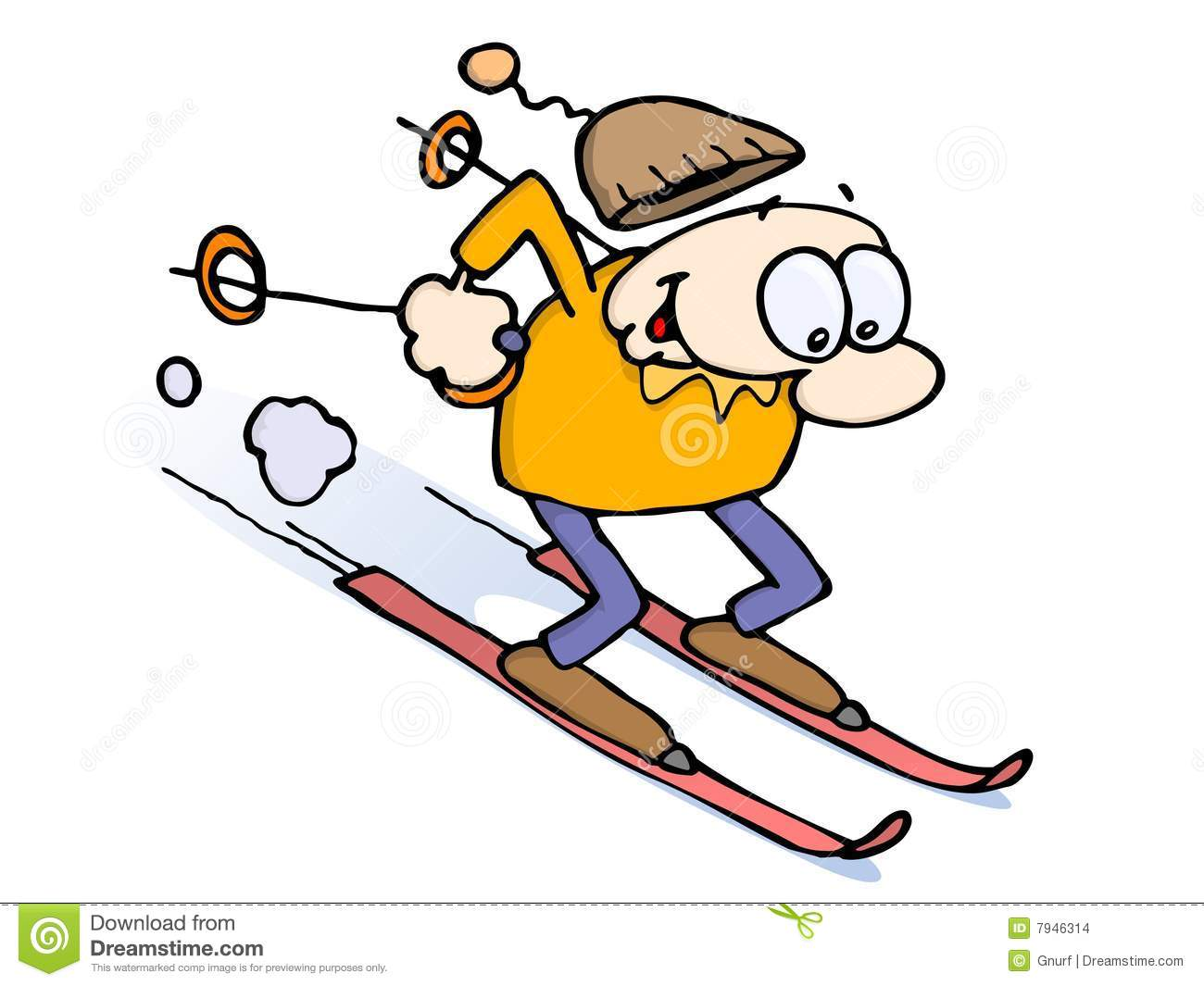 happy excited cartoon character on skis going full speed downhill ...