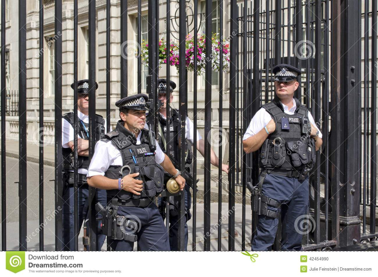 Downing street editorial image of security