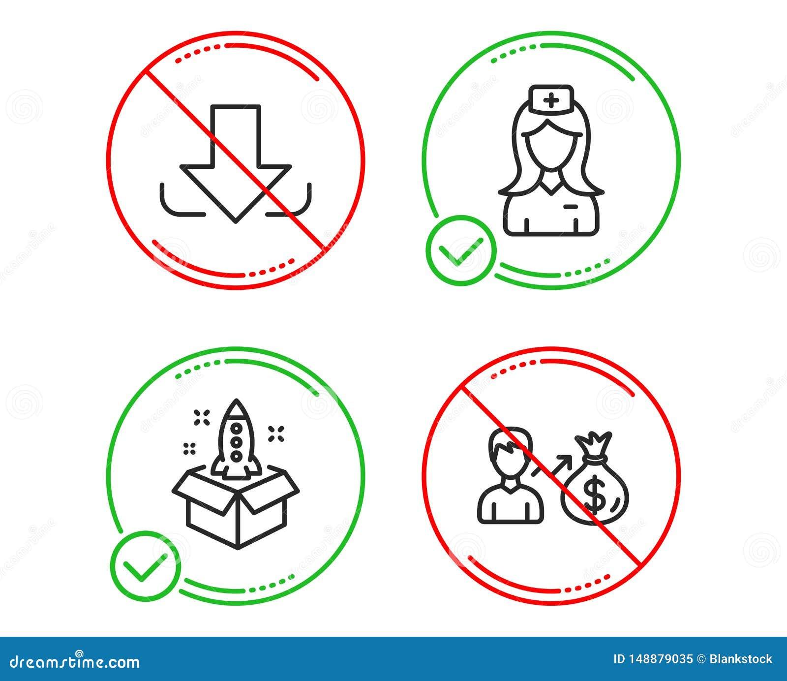 Download, het Ziekenhuisverpleegster en geplaatste Startpictogrammen Sallaryteken Ladingsdossier, Medische medewerker, Innovatie