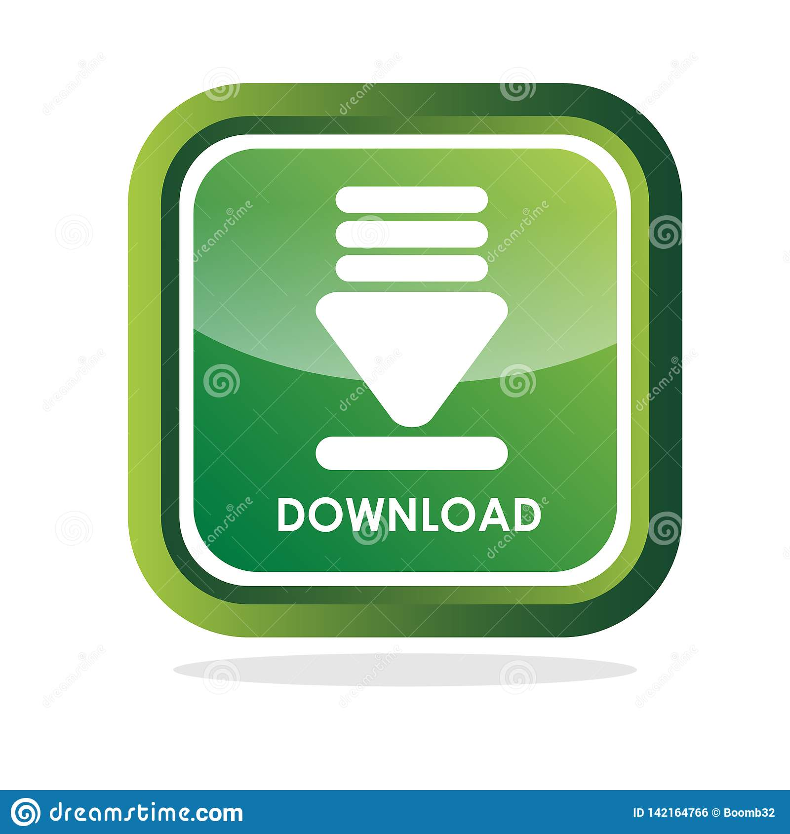 Download Icon On Green Glossy Square Button Stock Vector