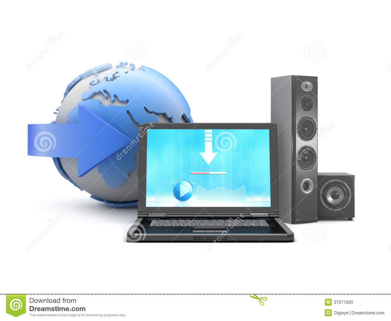 Download Music From Internet To Personal Computer Stock Illustration Illustration Of Download Modern 37971600