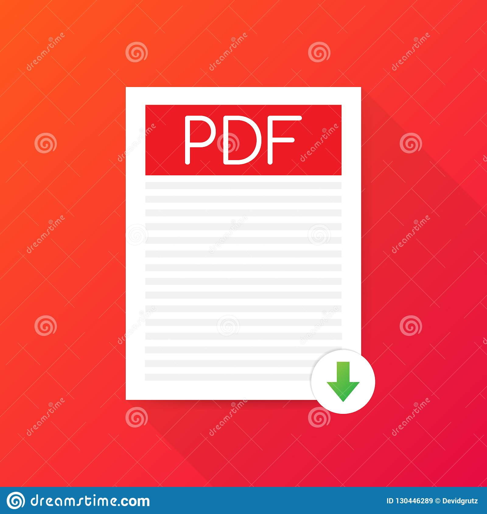 Pdf download icon simple flat pictogram for vector image.