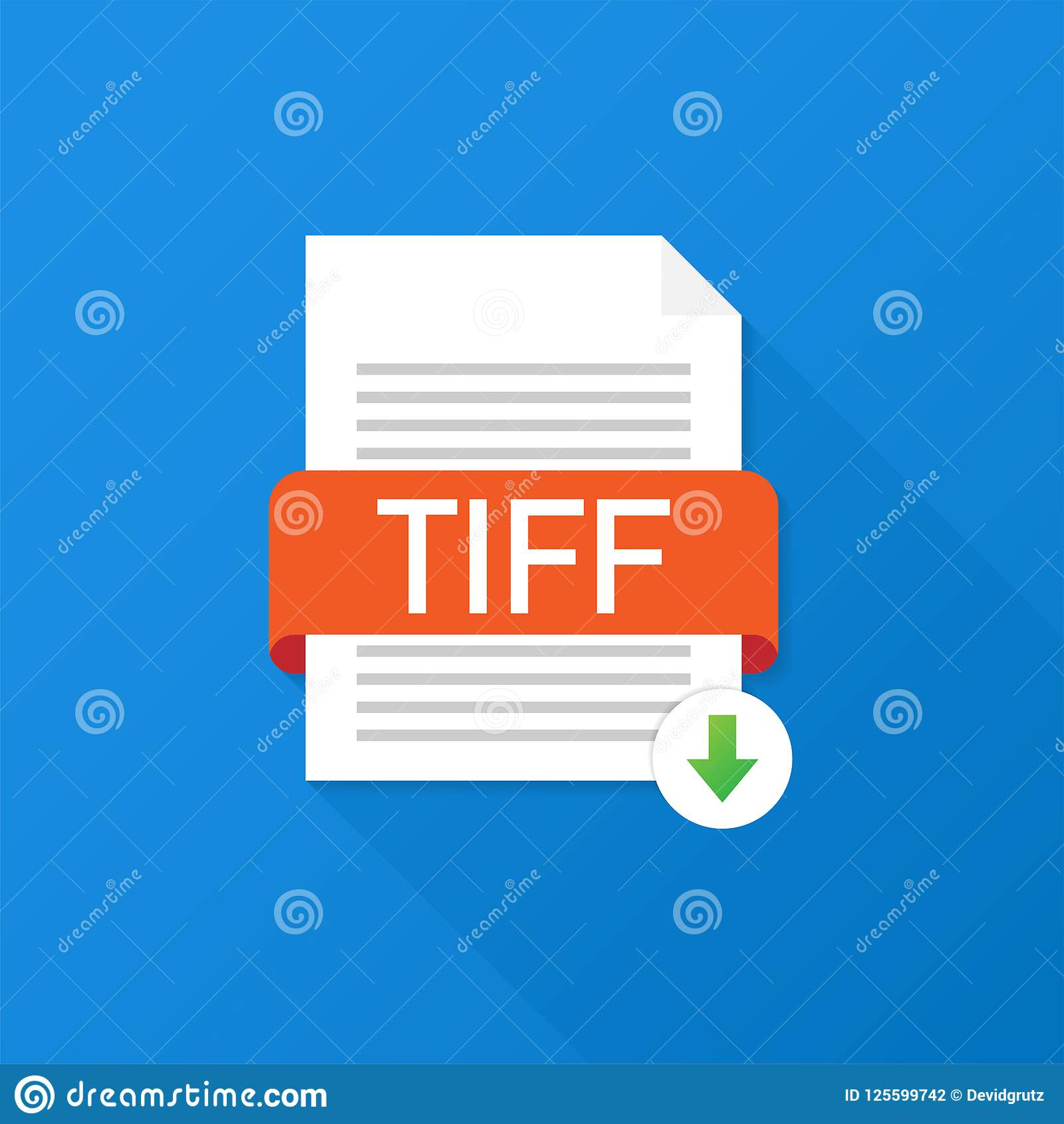 Download TIFF button. Downloading document concept. File with TIFF label and down arrow sign. Vector illustration.