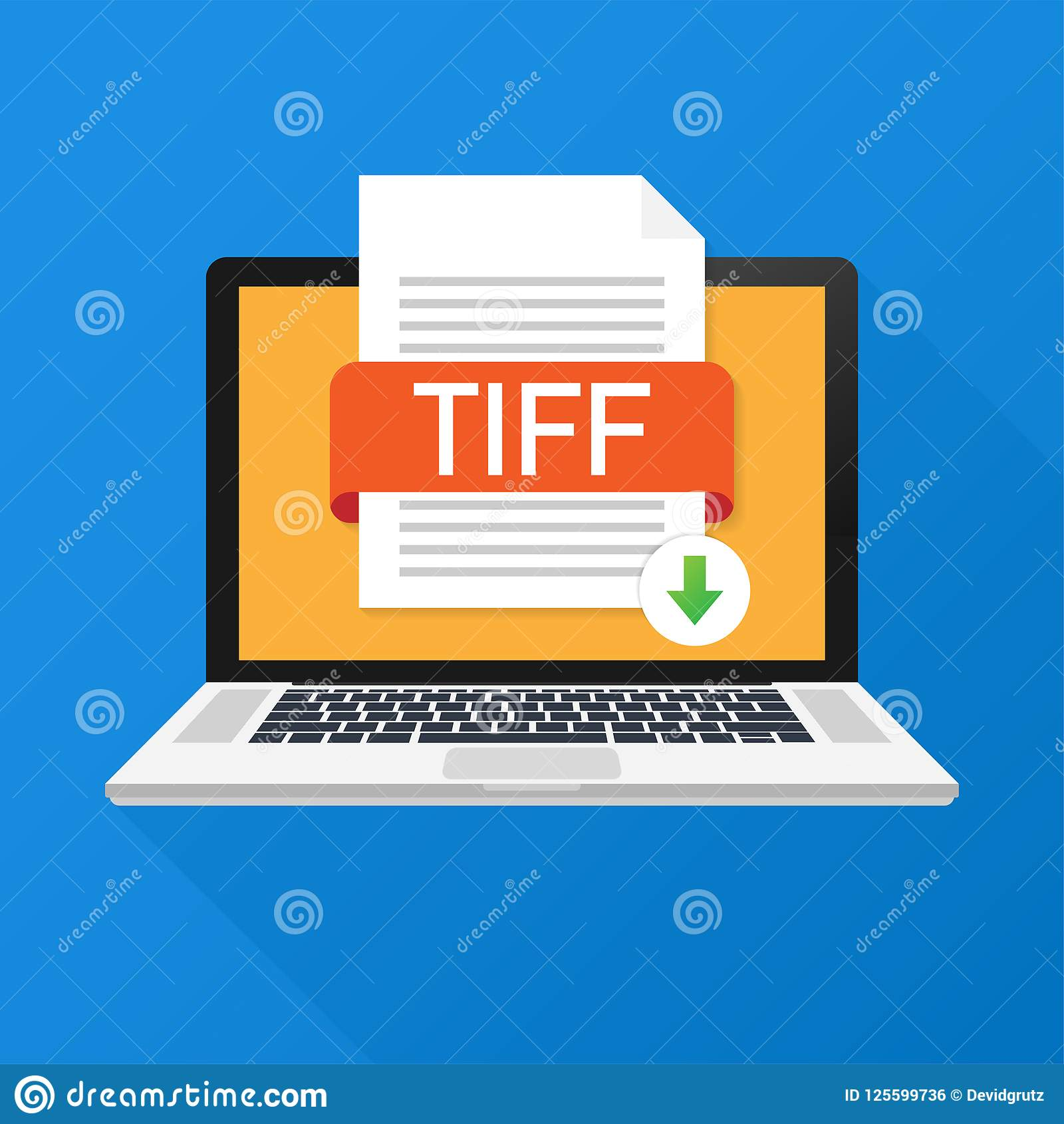 Download TIFF Button On Laptop Screen  Downloading Document