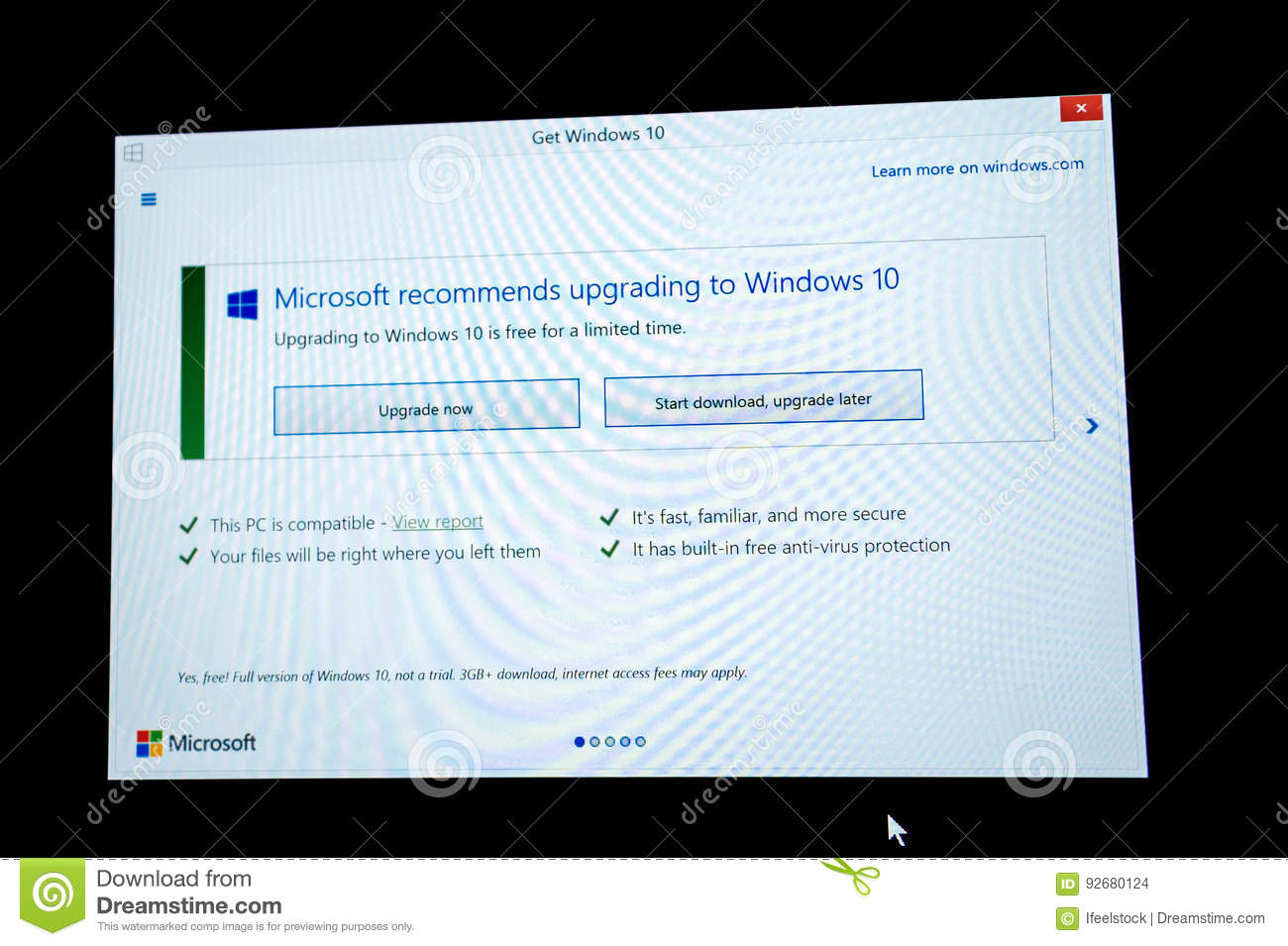 Download And Upgrade Latter Button On Microsoft Windows