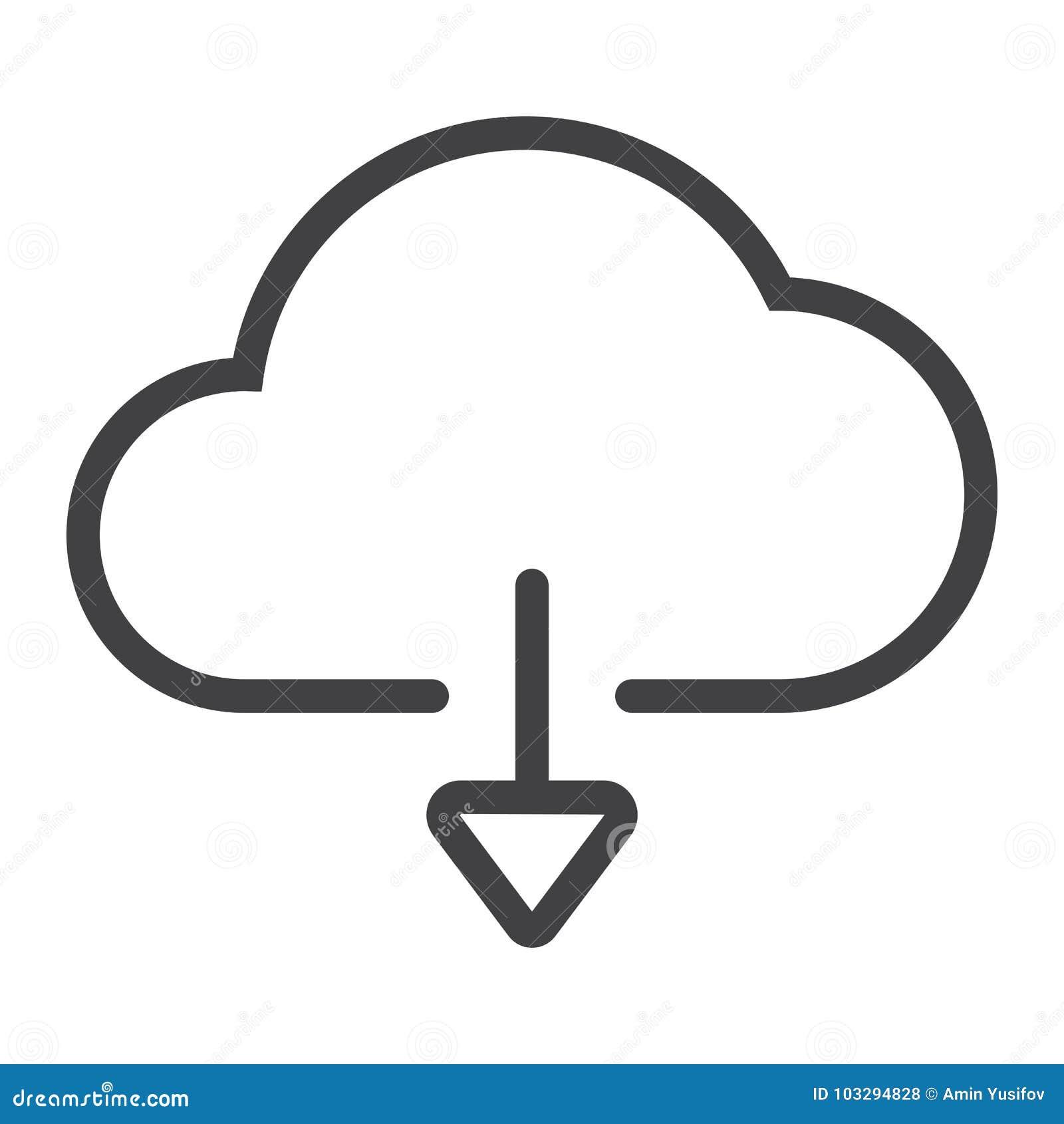 Download van het pictogram van de wolkenlijn, Web en mobiel,