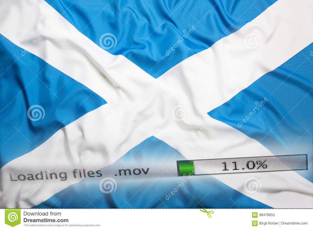 Downloading files on a computer, Scotland flag