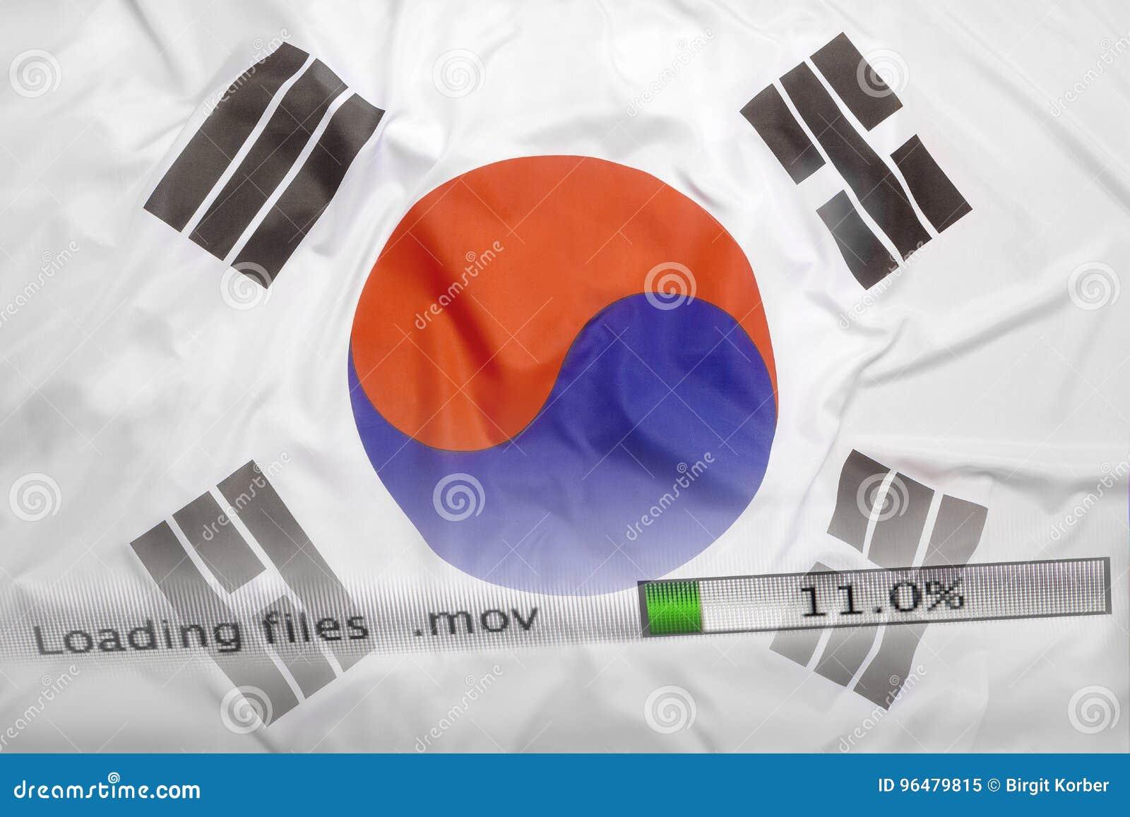 Downloading files on a computer, South Korea flag