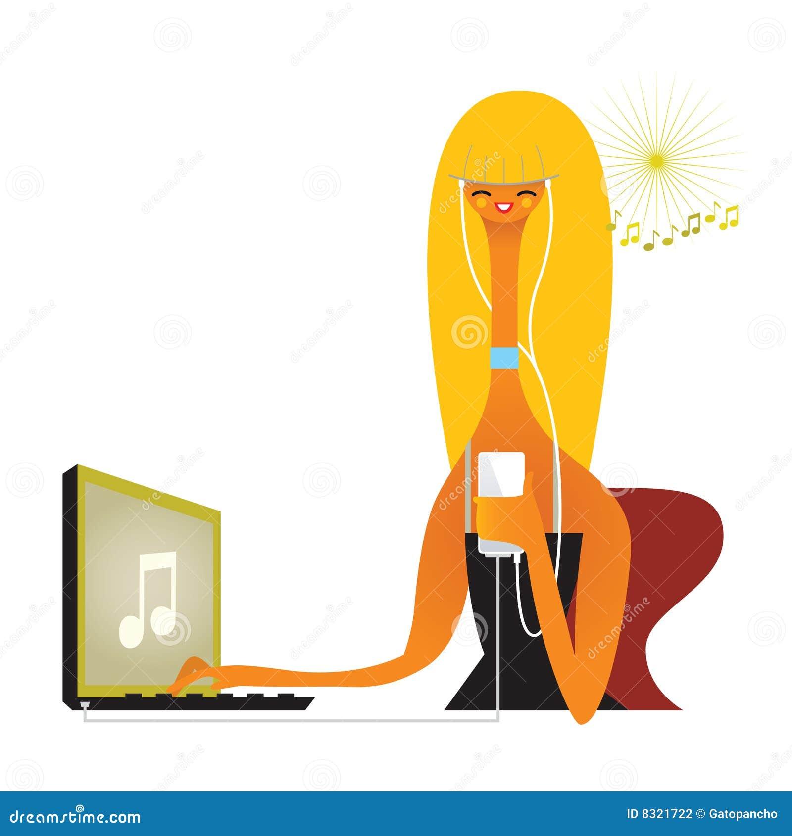 Downloading girl listening music