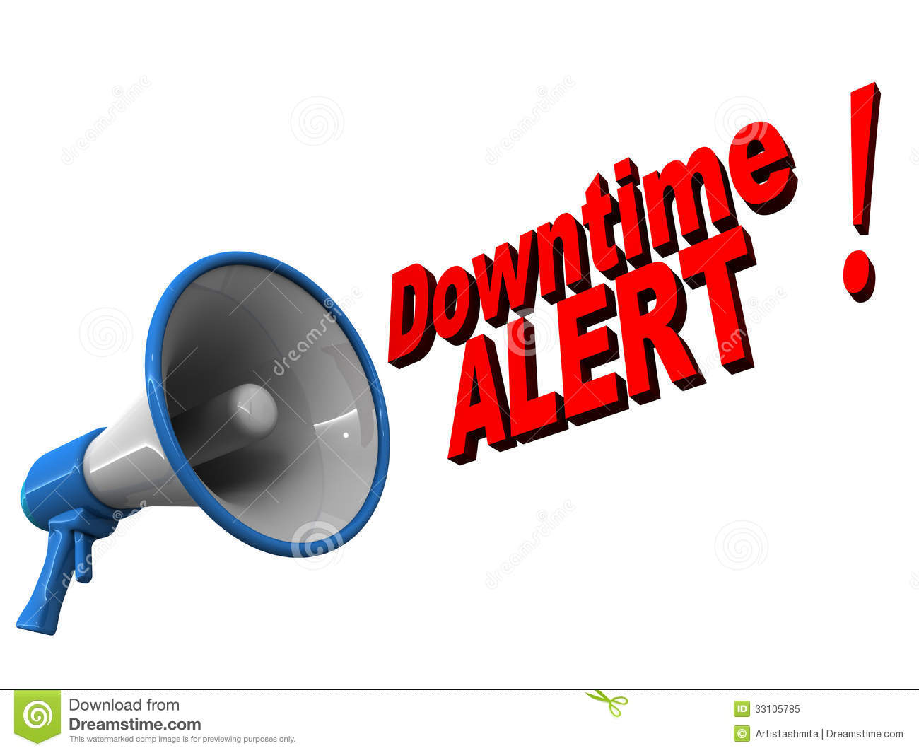 Downtime alert text coming out of a megaphone over white background ...