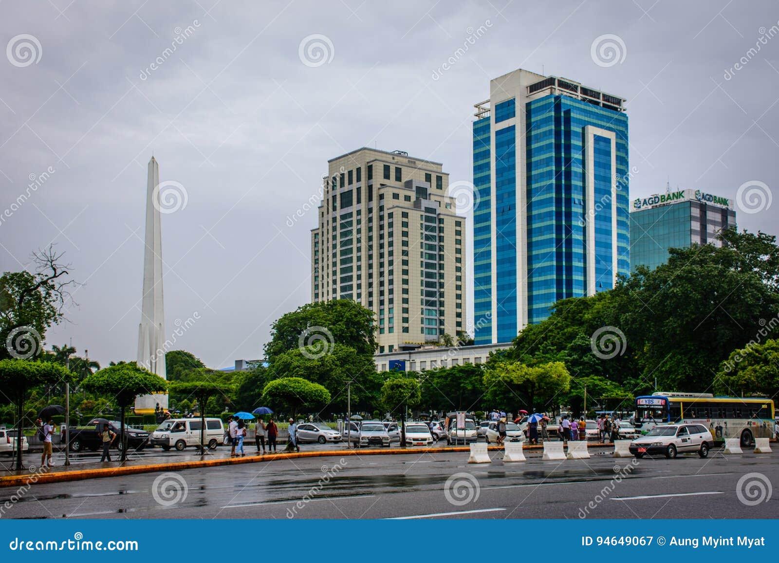 Downtown Area Of Yangon In The Rainy Season, Myanmar, June-2017