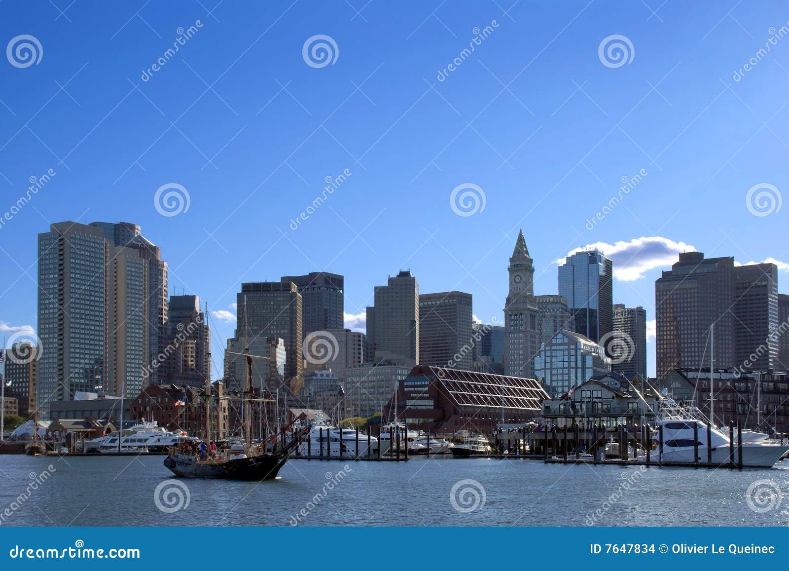 Downtown Boston Harbor Cityscape in Massachusetts
