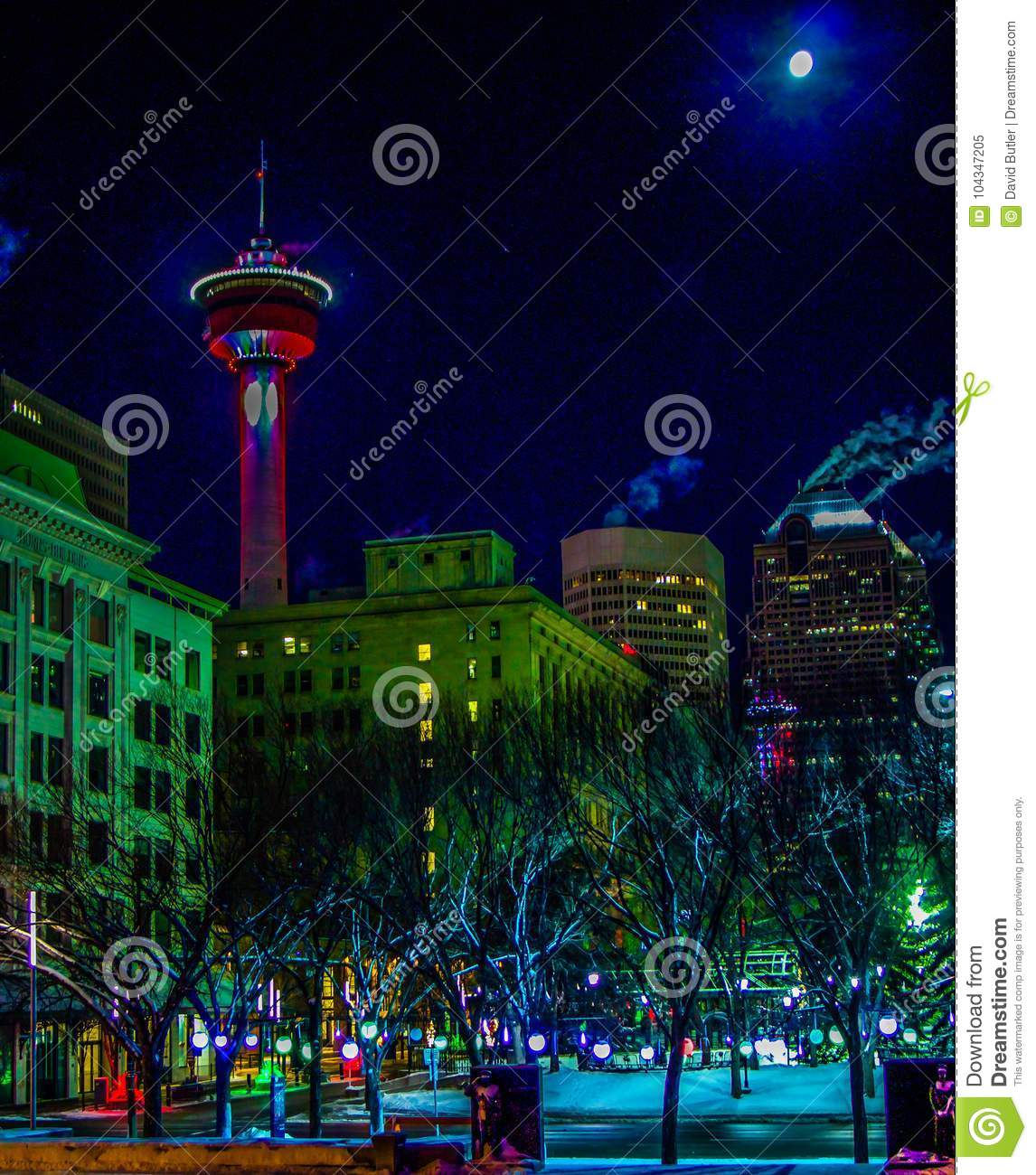 Christmas In Calgary Canada.Downtown Calgary In Christmas Lights Stock Image Image Of