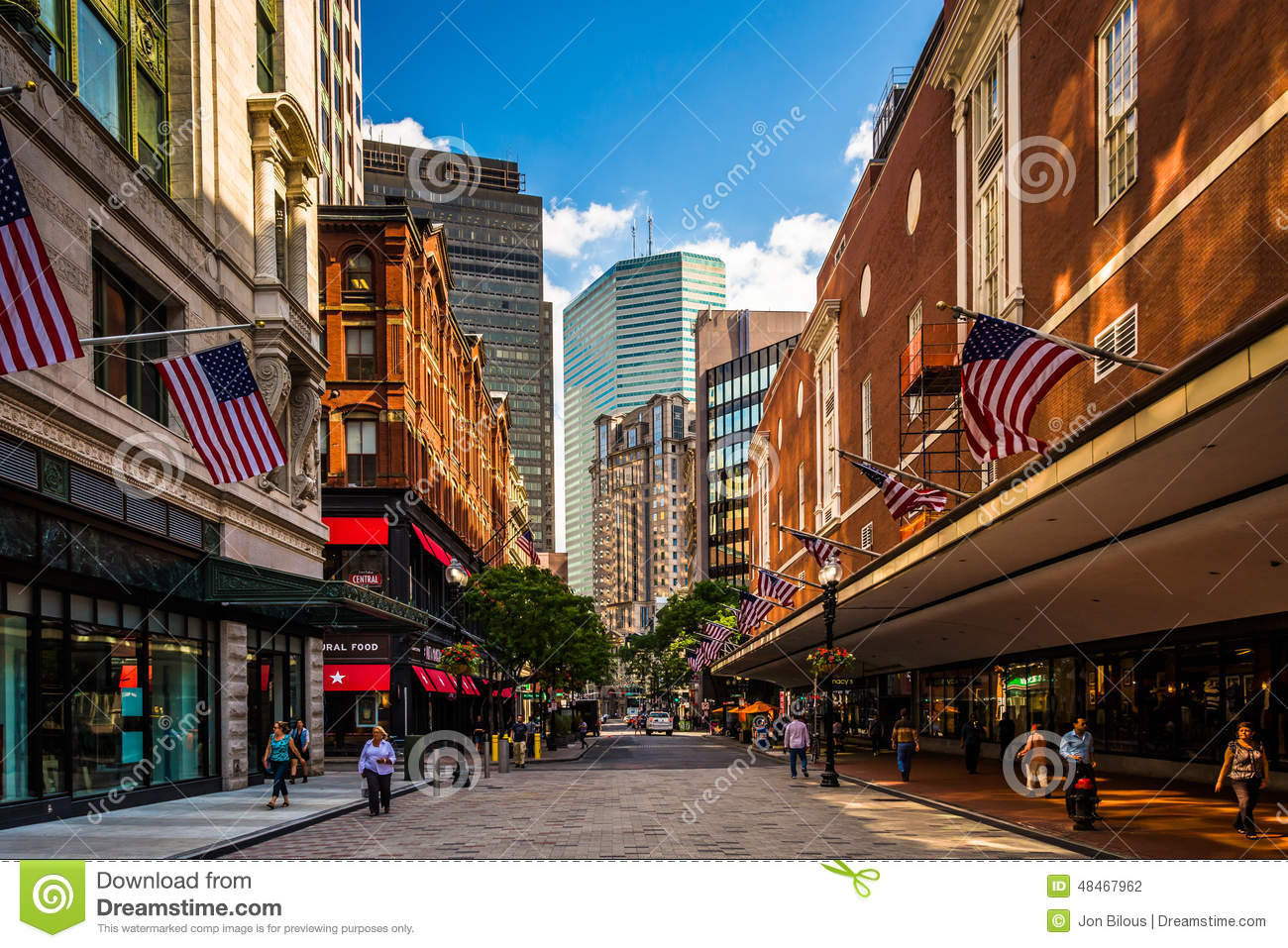 Downtown Crossing's modern stores are situated in aged, but beautifully architected buildings. Present-day cars drive along the brick streets, but you can almost imagine a young woman carrying a hatbox down the sidewalk back in
