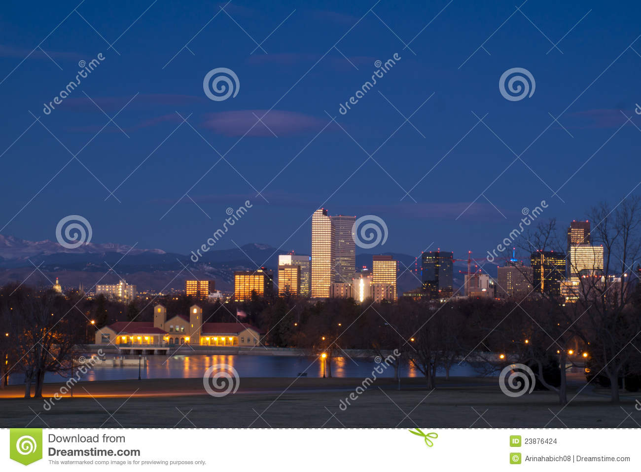 Download Downtown Denver stock photo. Image of capitol, illuminated - 23876424
