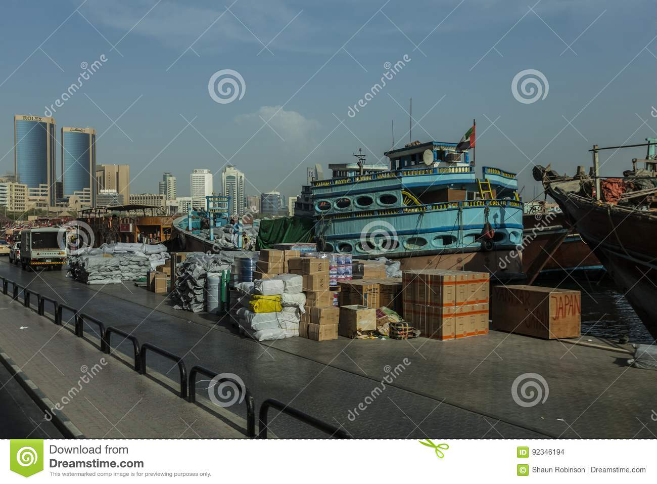 Merchant ships editorial stock image  Image of boats - 92346194
