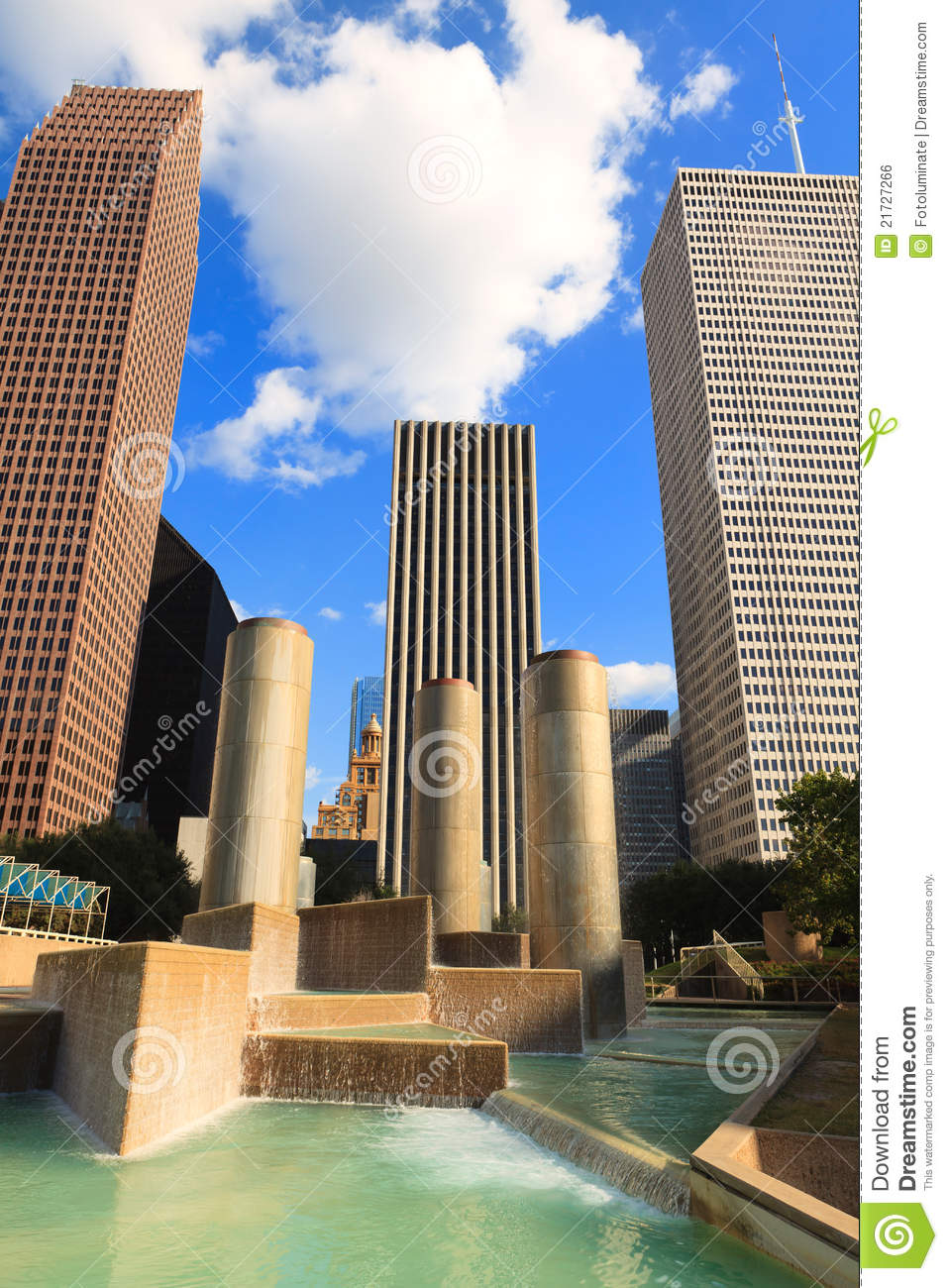 downtown houston stock photo image of clouds fountain 21727266. Black Bedroom Furniture Sets. Home Design Ideas