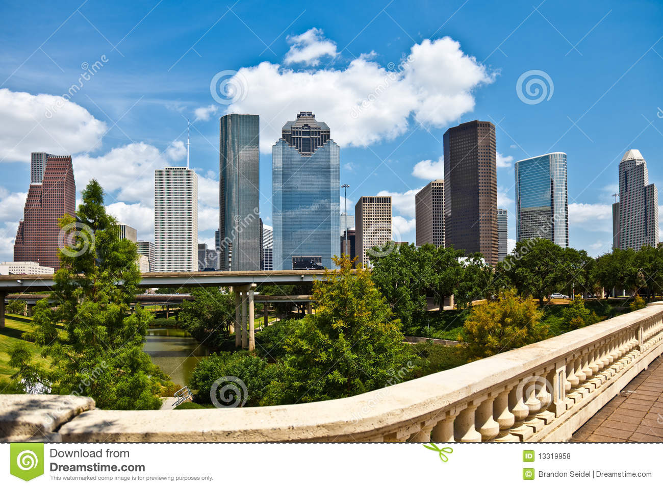 downtown houston texas cityscape skyline stock photo image 13319958. Black Bedroom Furniture Sets. Home Design Ideas