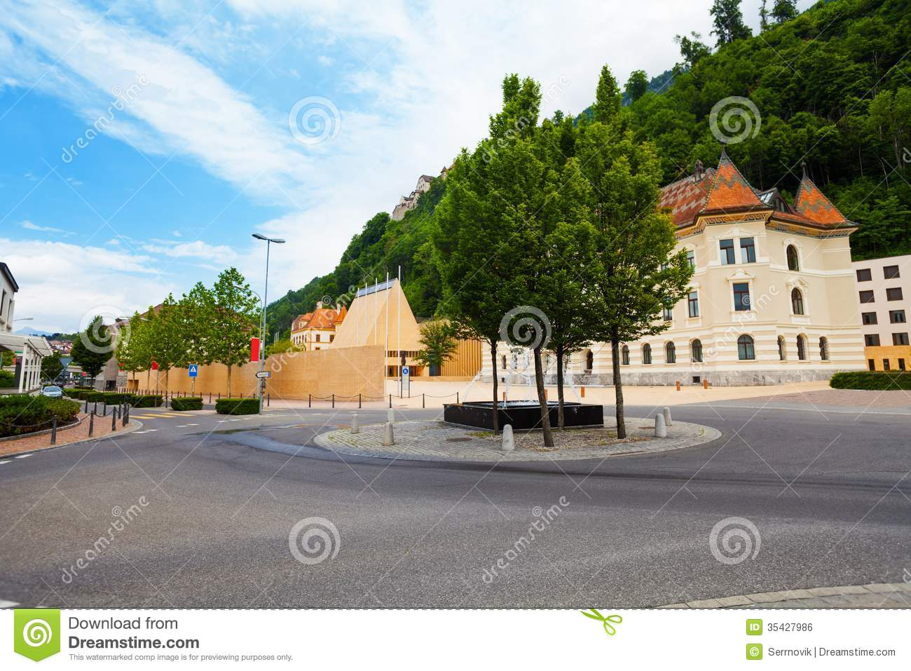 downtown of liechtenstein capital stock photo image of tourism