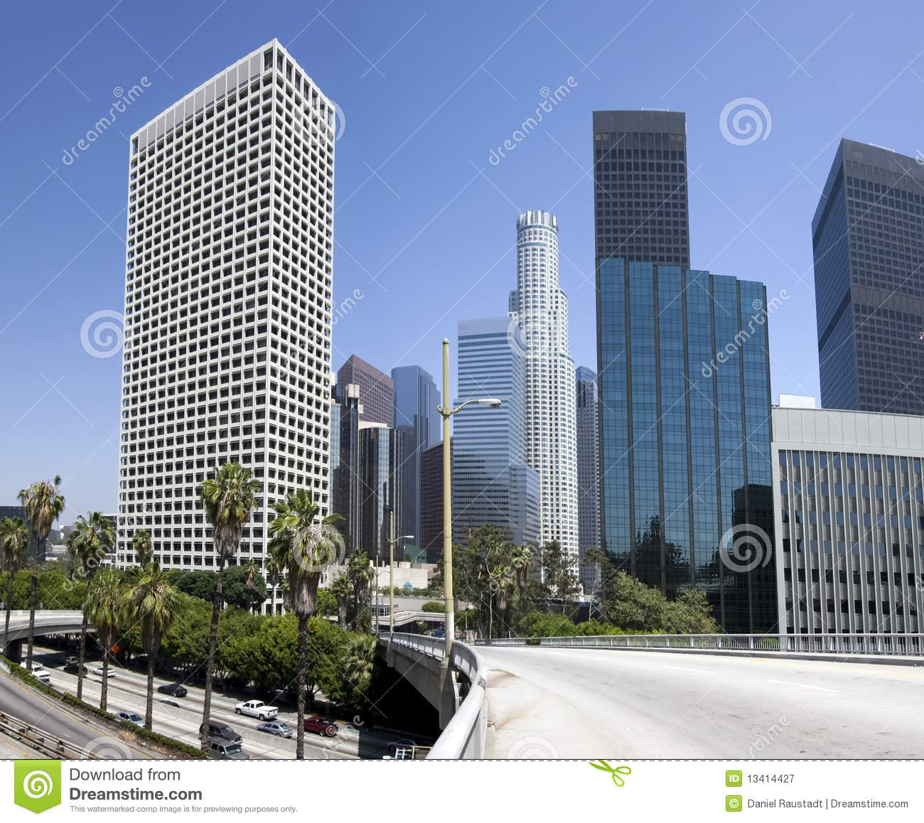 Downtown Los Angeles City Buildings Royalty Free Stock
