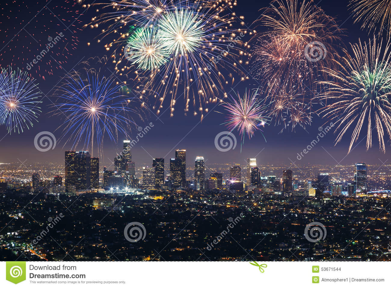 Downtown Los Angeles Cityscape With Fireworks Celebrating New Year's Eve. Stock Photo - Image of ...