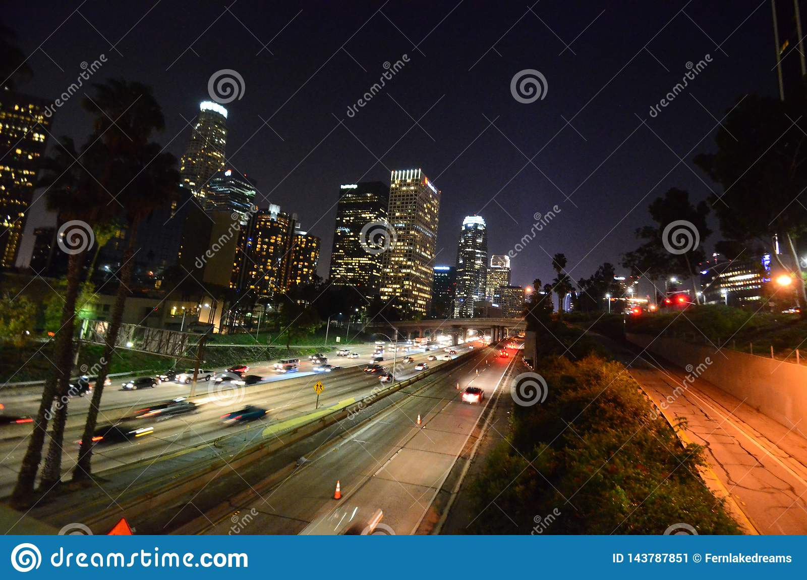 Downtown Los Angeles at Night - Freeway view