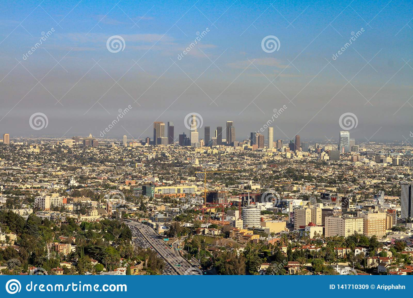 Downtown of Los Angeles viewed from the distance