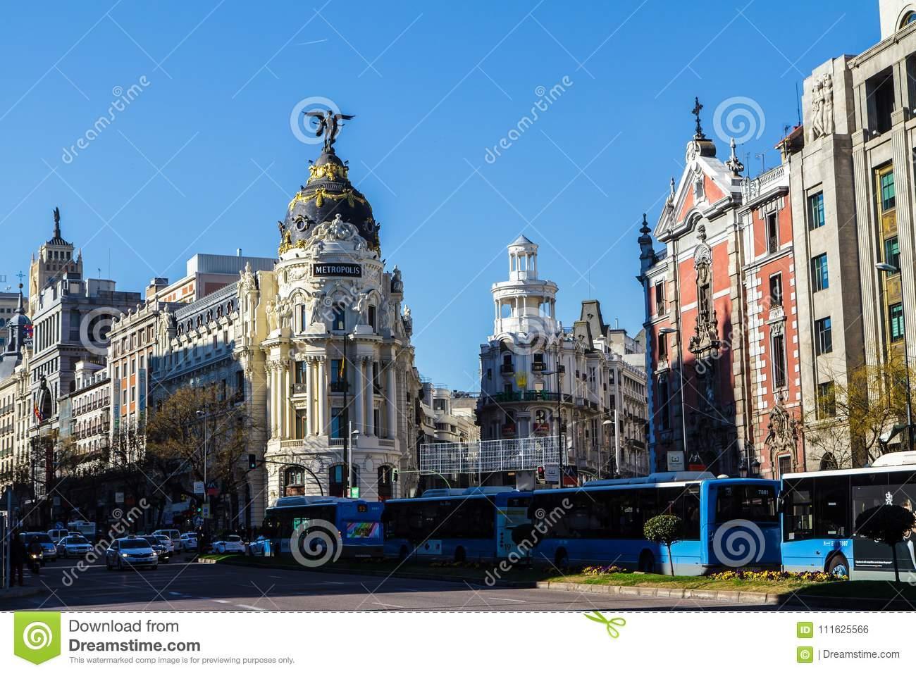 Downtown Madrid, Spain, where the Calle de Alcala meets the Gran Via. These are some of the most famous and busy streets in Madrid