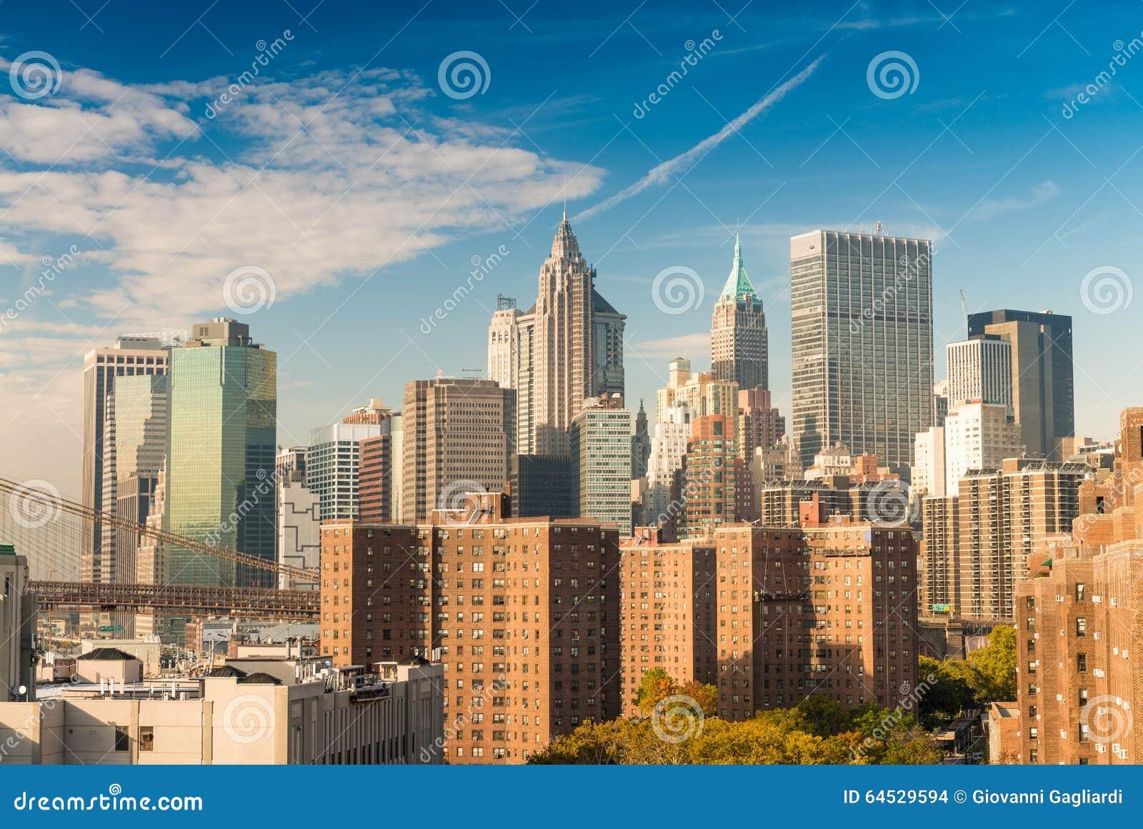 Downtown Manhattan. Beautiful New York skyline