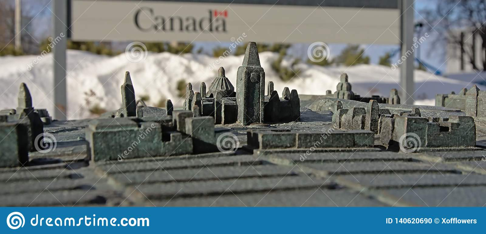 Downtown of Ottawa as a bronze maquette, selective focus