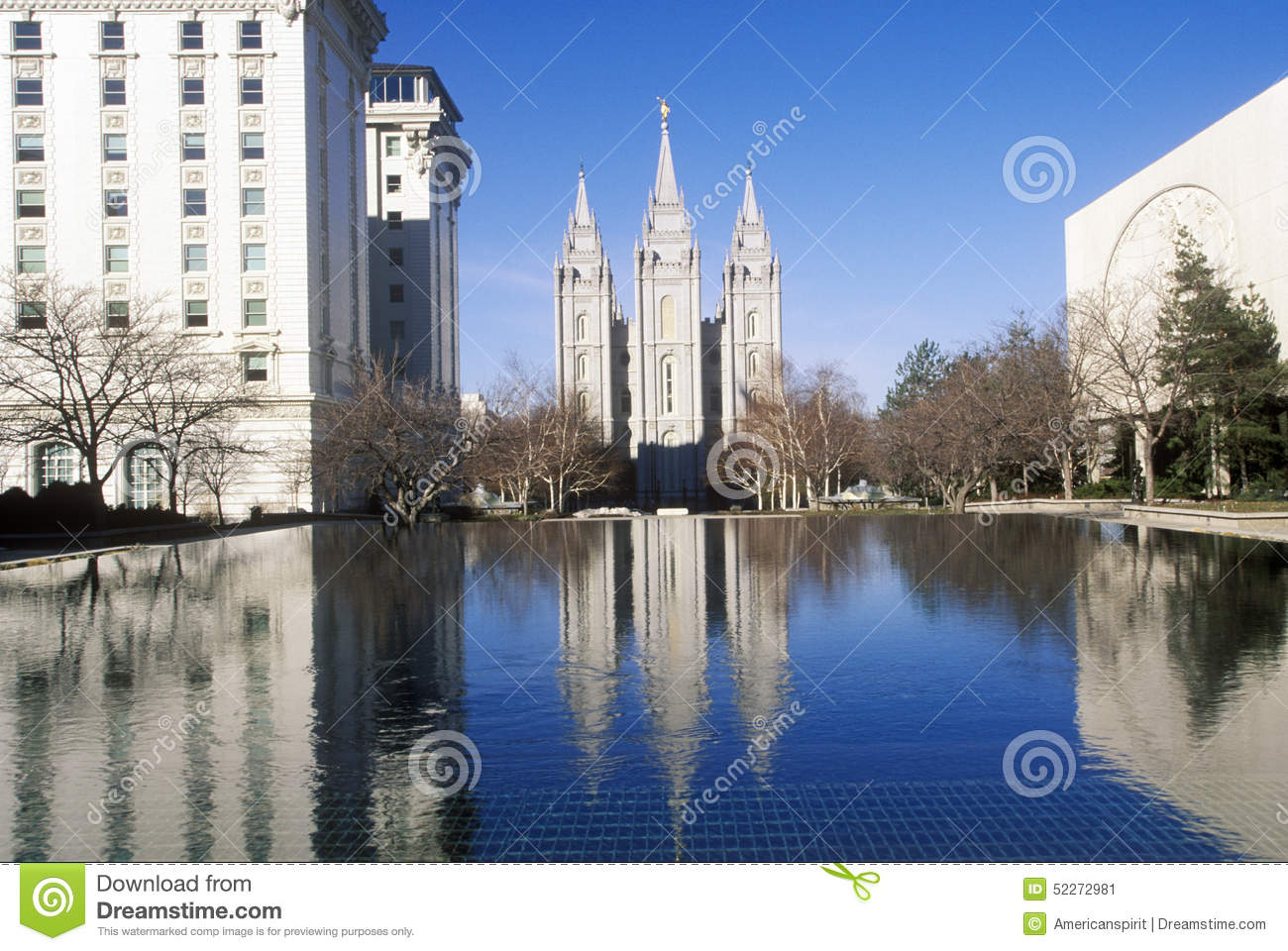 Downtown Salt Lake City With Temple Square, Home Of Mormon ...