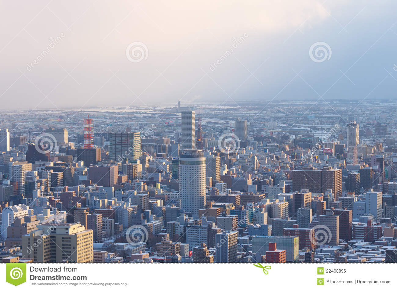 Downtown Sapporo City In Winter Editorial Image Image