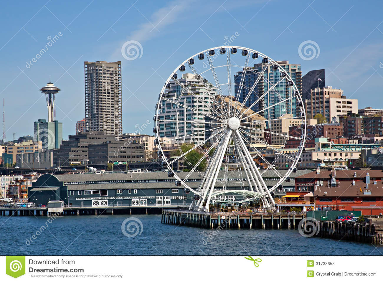 Royalty Free Stock PhotoDowntown Seattle Waterfront And The Great Wheel Stock Photos  . Restaurants Downtown Seattle Waterfront. Home Design Ideas