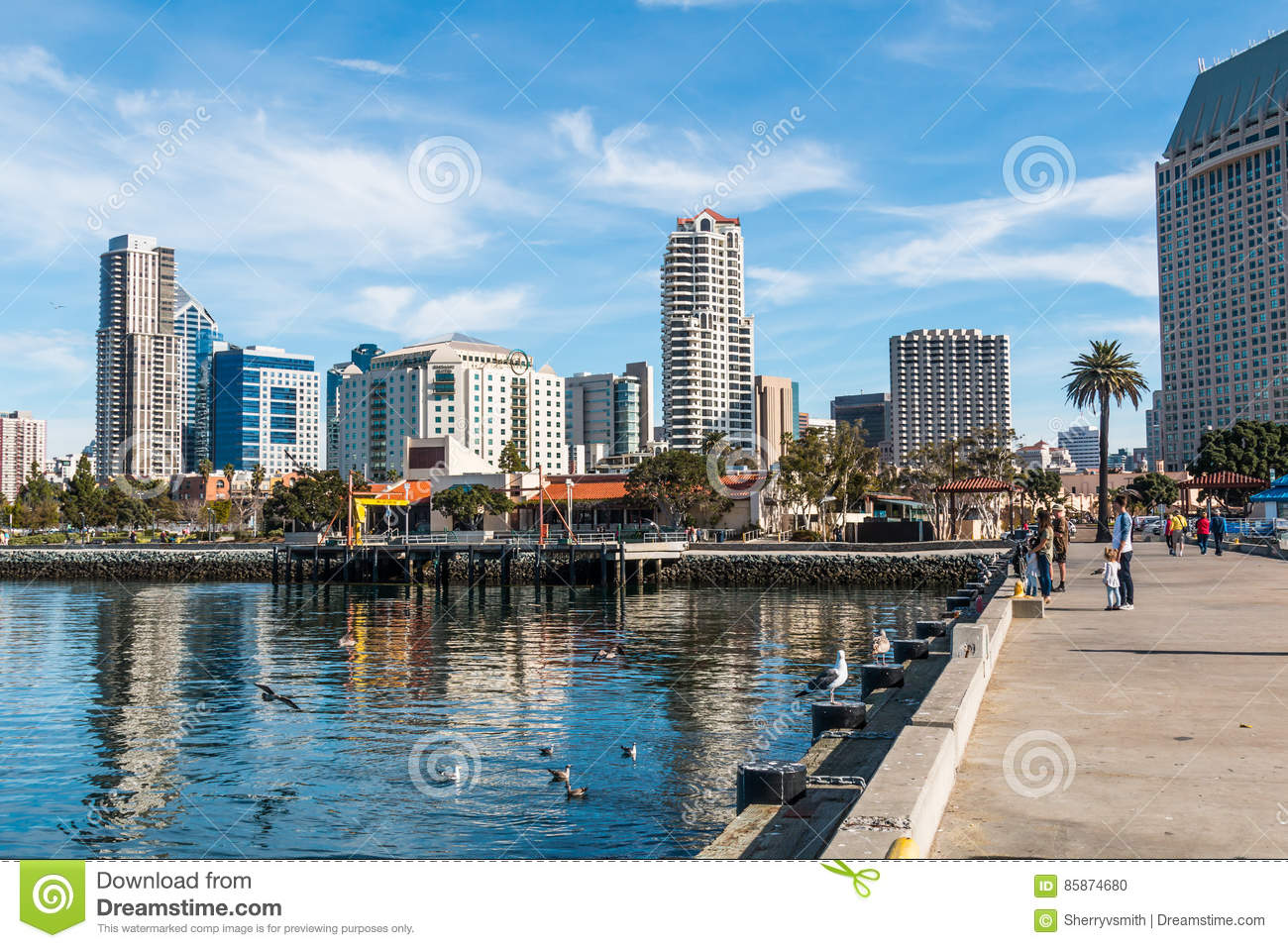 Downtown Skyline In San Diego From Seaport Village Editorial Image Image Of Downtown Building 85874680