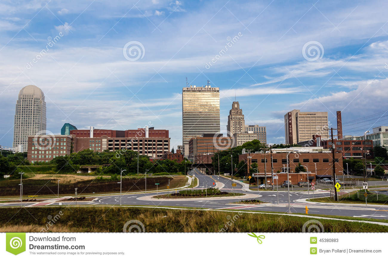 Downtown Winston Salem In Early Morning Editorial Stock